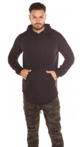 Trendy Men s Long Hoodie with pocket Black