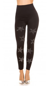 Sexy thermo leggings with studs star pattern Black