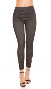 Sexy Jeggings with decorative zips Black