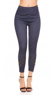 Sexy Jeggings with decorative zips Blue