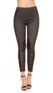 Sexy Jeggings with leatherlook + buttons Black