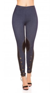 Sexy Jeggings with leatherlook + buttons Blue
