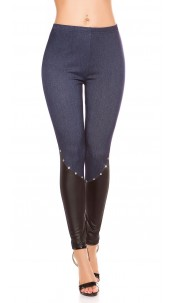 Sexy jeggings with wet look and rhinestones Blue