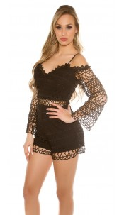 Sexy Lace Long Sleeve Playsuits IBIZA Look Black