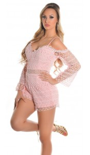 Sexy Lace Long Sleeve Playsuits IBIZA Look Pink