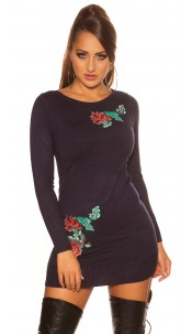 Sexy fine knit mini dress with floral embroidery Navy