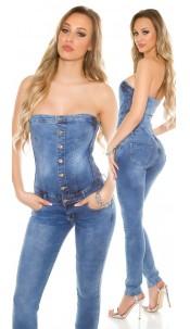 Sexy bandeau jeans jumpsuit detachable straps Jeansblue