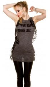 Sexy ribbed mini dress with fringe