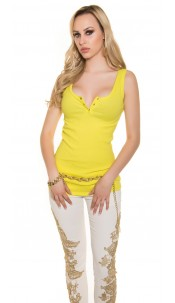 Trendy basic Ripp-Top Yellow