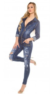 Sexy Dark Denim jumpsuit Used Look with Zips Jeansblue