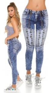 Sexy Acid washed jeans with rivets and zips Jeansblue