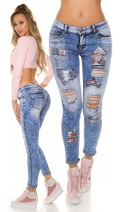 Trendy Acid washed Jeans Used Look & Patches Jeansblue