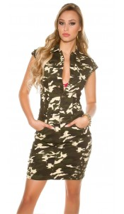 Sexy Camo Jeans Mini Dress with Ball rivets Army