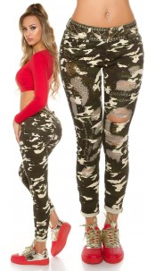 Trendy Camo Jeans with sequined used look Army