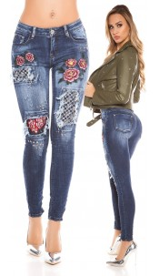 Sexy Skinny Jeans with Rivets and. Embroidery Jeansblue