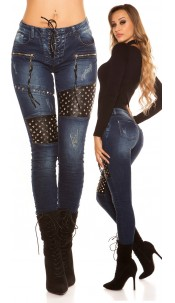 Sexy skinny jeans with lacing and studs Jeansblue