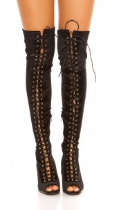 Sexy Overknees Peep Toe Boots Velvet Look Black