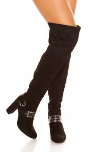 Sexy overknees boots suede look Black