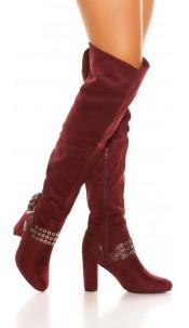 Sexy overknees boots suede look Bordeaux
