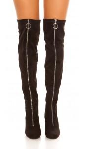 Sexy overknees boots with zip suede look Black