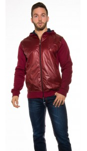 Trendy hoodie jacket with wetlook optic Bordeaux