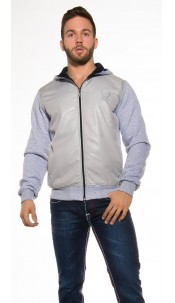 Trendy hoodie jacket with wetlook optic Grey