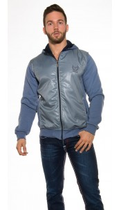Trendy hoodie jacket with wetlook optic Lightblue
