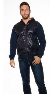 Trendy hoodie jacket with wetlook optic Navy