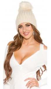 Trendy knitted cap, Fake Fur PomPom, lined Beige
