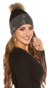 Trendy knit cap w. detachable PomPom&rhinestones Black