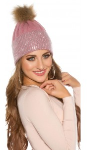 Trendy knit cap w. detachable PomPom&rhinestones Pink