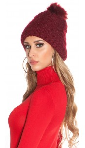 Trendy lined knitcap w. fake fur PomPom Bordeaux