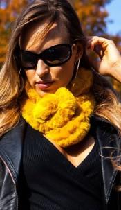 Trendy fluffy scarf Mustard