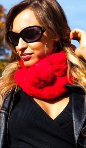 Trendy fluffy scarf Red