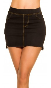 Sexy Jeans-Mini skirt Used Look with pockets Black