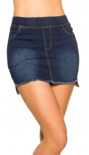Sexy Jeans-Mini skirt Used Look with pockets Darkblue
