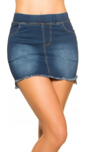 Sexy Jeans-Mini skirt Used Look with pockets Jeansblue