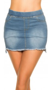 Sexy Jeans-Mini skirt Used Look with pockets Lightblue