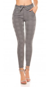 Trendy plaid business loosefit pants with a loop Blackwhite