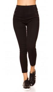 Sexy high waist treggings with studs Black