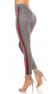 Trendy plaid leggings with contrast stripes Redgreen
