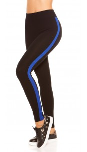 Trendy leggings with contrast stripes Blue