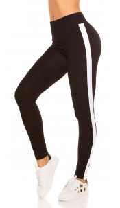 Trendy leggings with contrast stripes White