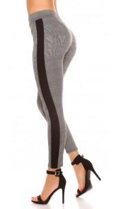 Trendy plaid leggings with contrast stripes Black