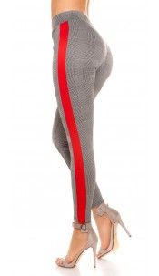 Trendy plaid leggings with contrast stripes Red