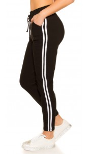 Trendy joggers with contrast stripes Black
