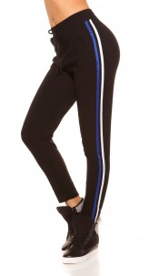 Trendy joggers with contrast stripes Bluewhite