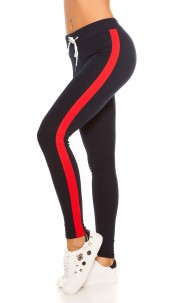 Trendy joggers with contrast stripes, navy Red