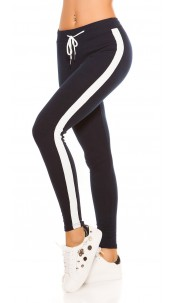 Trendy joggers with contrast stripes, navy White