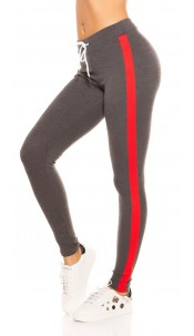 Trendy joggers with contrast stripes, grey Red